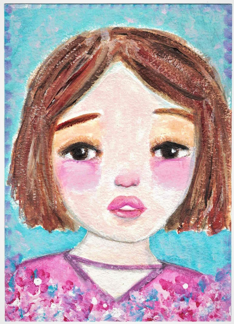 Original Mixed Media Acrylic Girl Flowers by Ceville Designs image 0