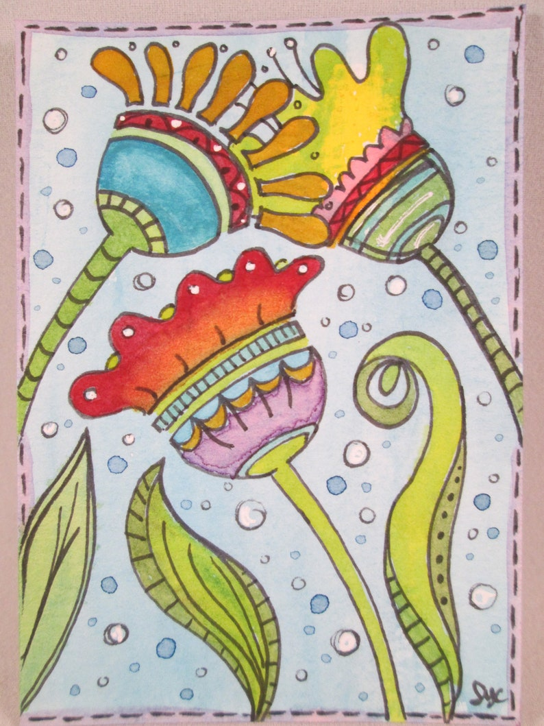 ACEO Original Watercolor Flowers Art Ceville Designs image 0