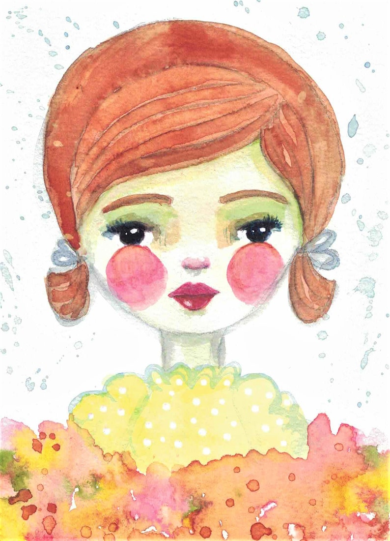 Original Mixed Media Watercolor Girl Flowers by Ceville image 0