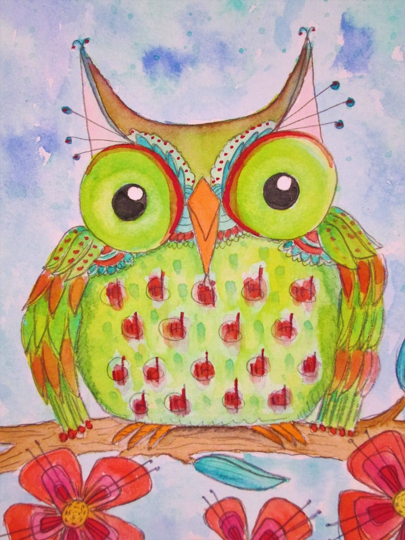 Original Watercolor Lime Green Owl and Red Pink Flowers by image 0