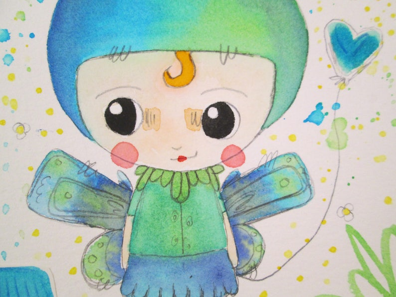 Mixed Media Watercolor Rabbit Fairy Girl Green Blue by Ceville image 0