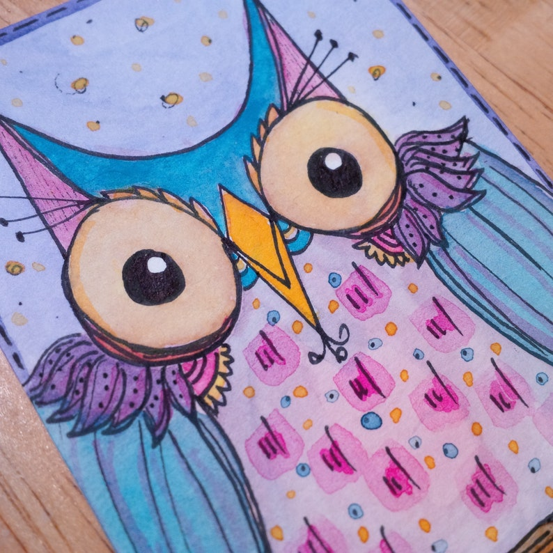 ACEO Original Big-Eyed Owl Purple Yellow Blue Pink Watercolor image 0