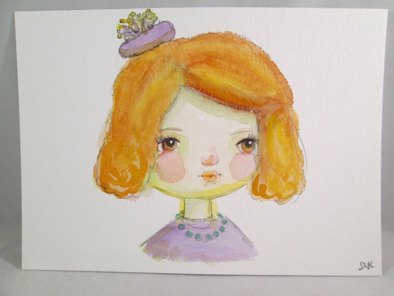Mixed Media Watercolor Girl Purple Pillbox Hat by Ceville image 0
