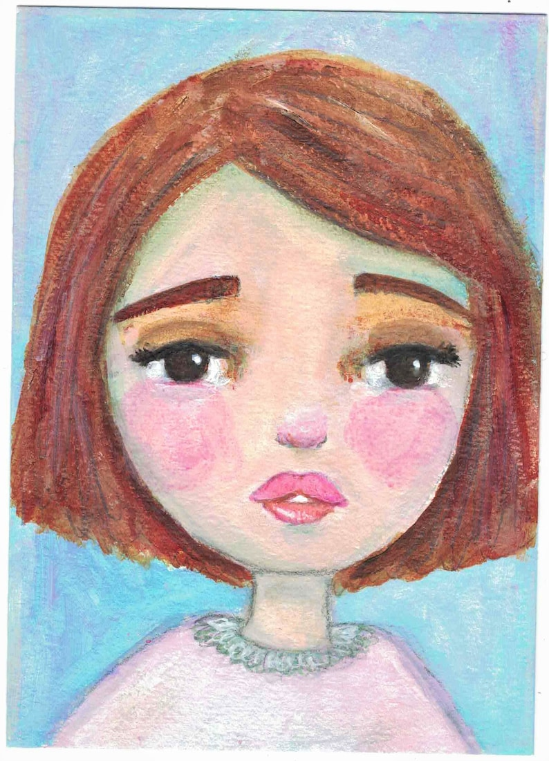 Original Mixed Media Acrylic Girl by Ceville Designs image 0