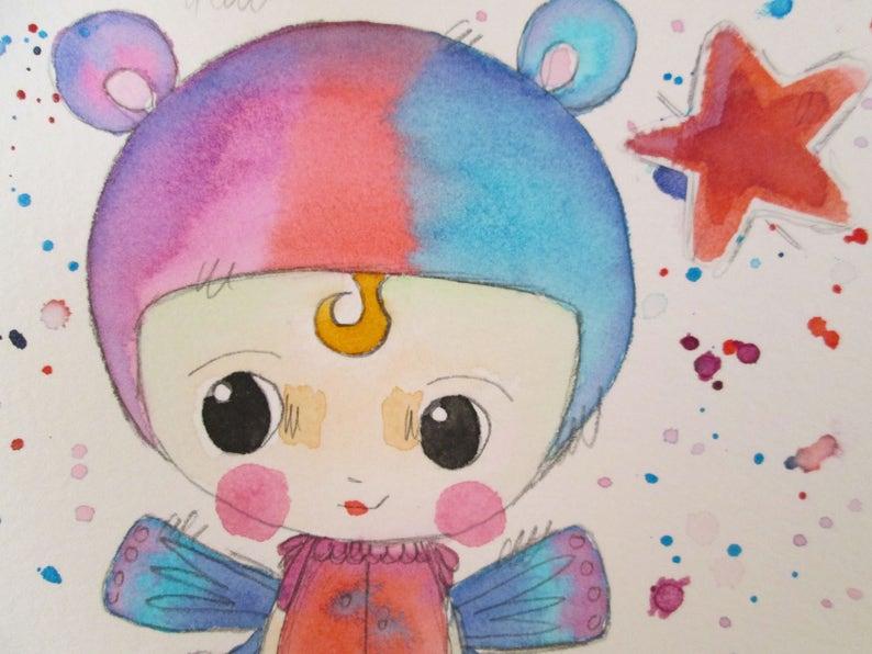 Original Mixed Media Watercolor Bear Fairy Girl Purple Red image 0
