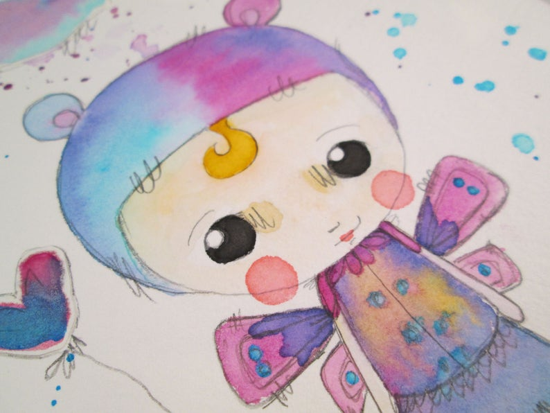 Mixed Media Watercolor Bear Fairy Girl by Ceville Designs image 0