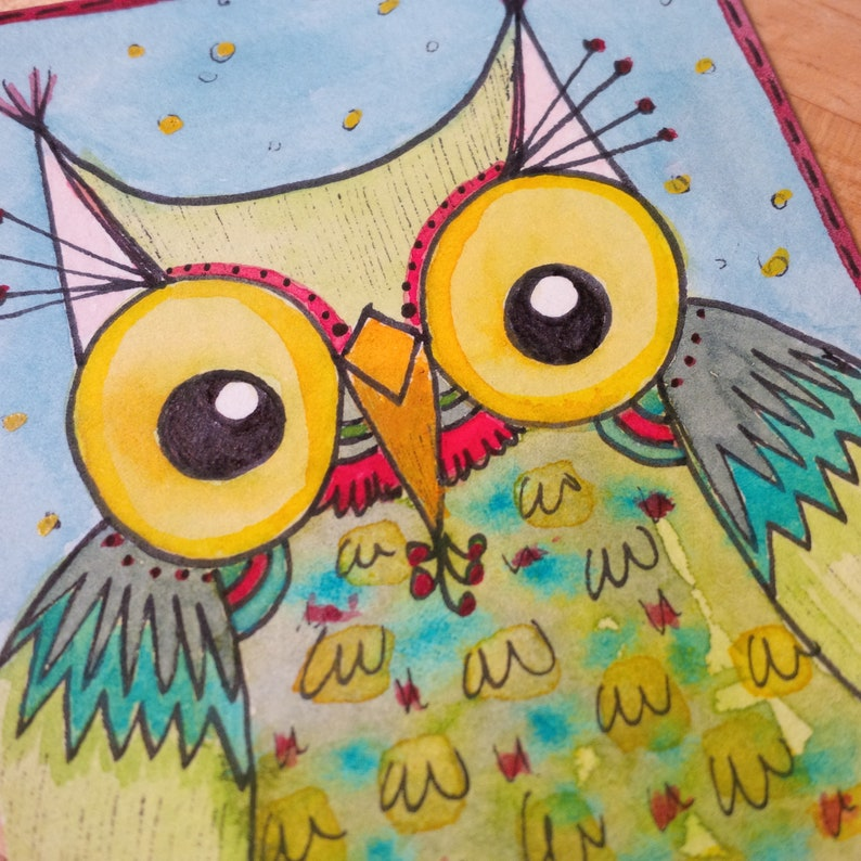 ACEO Original Big-Eyed Owl Green Red Yellow Blue Watercolor image 0