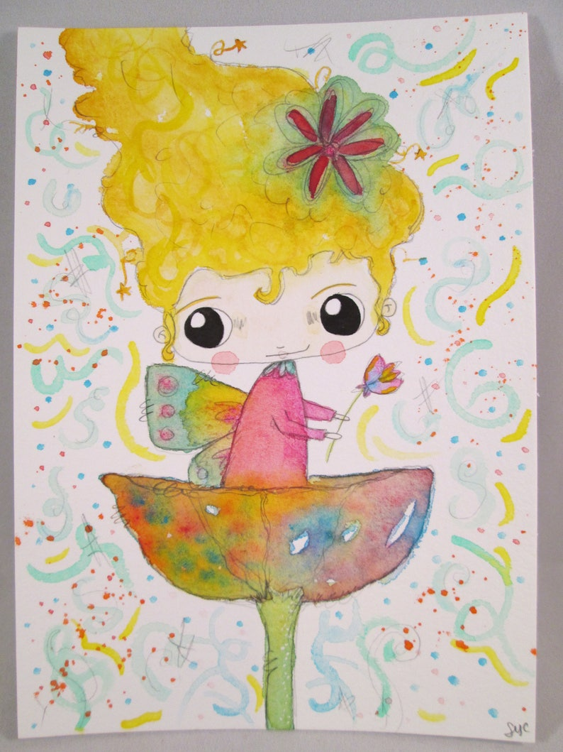 Original Mixed Media Watercolor Flower Fairy Girl Fairies by image 0