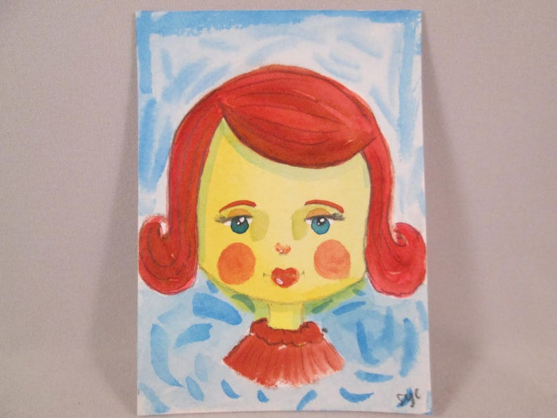 ACEO Original Watercolor Girl Red Hair Red Lips OOAK Gift image 0