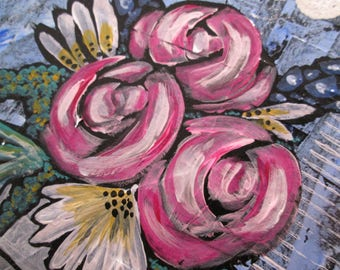 Original Mixed Media Wine Art Love the Wine You're With Roses Flowers OOAK Ceville Designs
