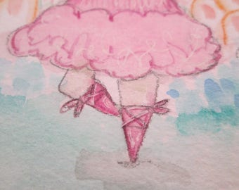 Original Watercolor Ballerina Girl with Blue Eyes Purple Hair by Ceville Designs