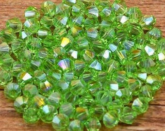 4mm (100) Peridot Green AB Bicone Glass Crystals Green AB Austrian Crystal Beads Loose Beads Faceted Crystals For Jewelry Making