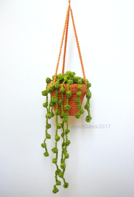 String of Pearls Succulent Plant in Hanging Pot Amigurumi