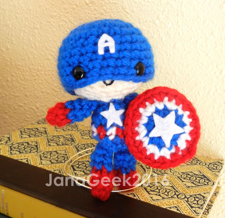 Avengers Captain America Inspired Amigurumi Crochet Doll Etsy