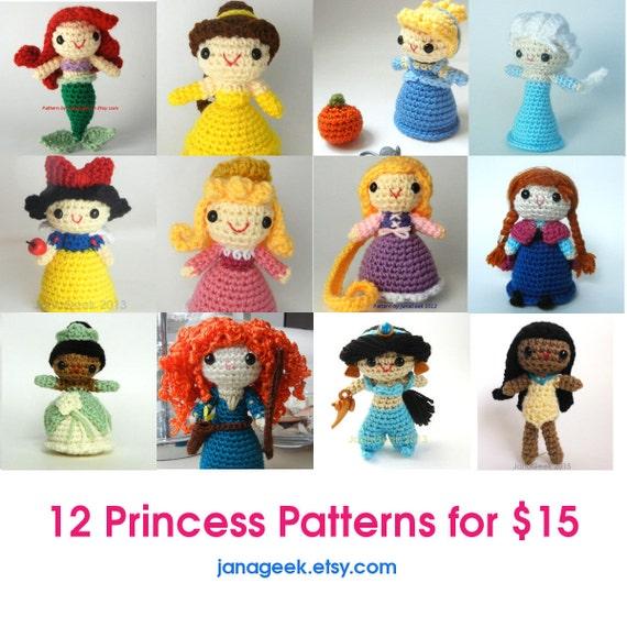 Sparen Sie 12 Prinzessinnen Amigurumi Puppe häkeln Muster 60 | Etsy