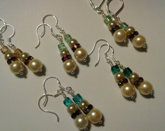 Swarovski Crystal & Sterling Silver Snowmen Earrings, Pearl and Rhinestone Crystal Snowman Earrings