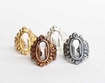 Antique Keyhole RING! (Size 8.5 to 9.5) - Brass & Sterling Silver - Handmade - Historic Reproduction - Vintage - Adjustable - FREE SHIPPING!