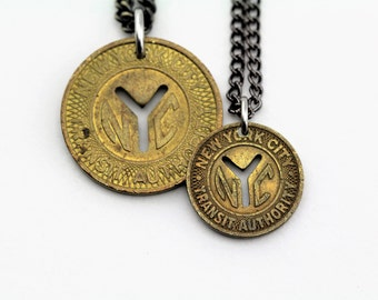 The New Yorker Necklace - Vintage Subway Token (c. 1953-1980) - NYC - Transit Authority - Free Shipping - LIMITED QUANTITY