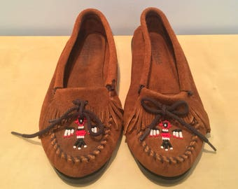 Vintage Women's Suede Minnetonka Moccasins with Beaded Detail