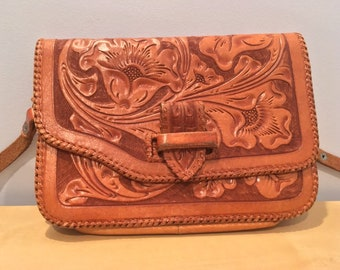 852f685b93fa Vintage Hand Tooled Floral Leather Purse- Crossbody Style