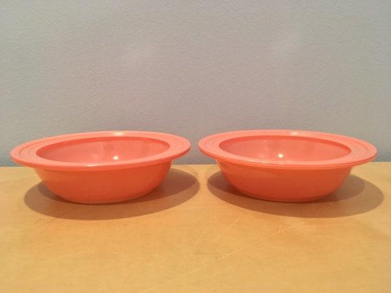 Set of Two Vintage Hazel Atlas Dessert Bowls in Pink Monotone