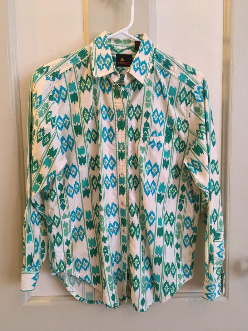 Ikat Pattern Vintage Liz Taylor Collared Women/'s Shirt