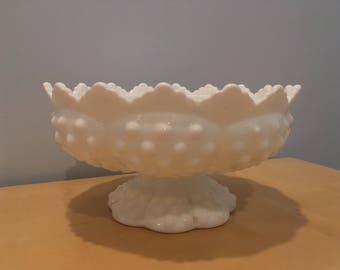 Vintage Fenton Hobnail Planter/Candle Holder in White
