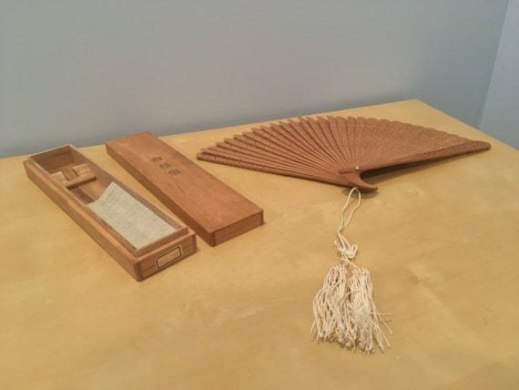 Vintage Fan with Tassel and Box
