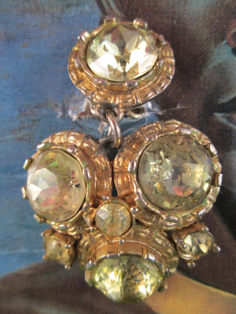 Topaz and gold 1960/'s glamour earrings clip on stamped Arcansas