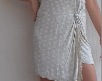 Tube Short dress/skirt japan hemp print cream