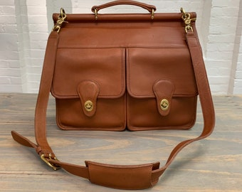 421e910dba vintage coach messenger bag    coach dowel crossbody briefcase bag     british tan coach leather    1980s 1990s