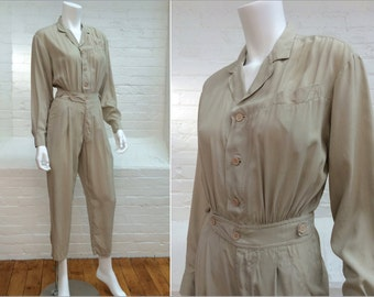vintage silk jumpsuit // washable silk // menswear look // 1980s // extra small