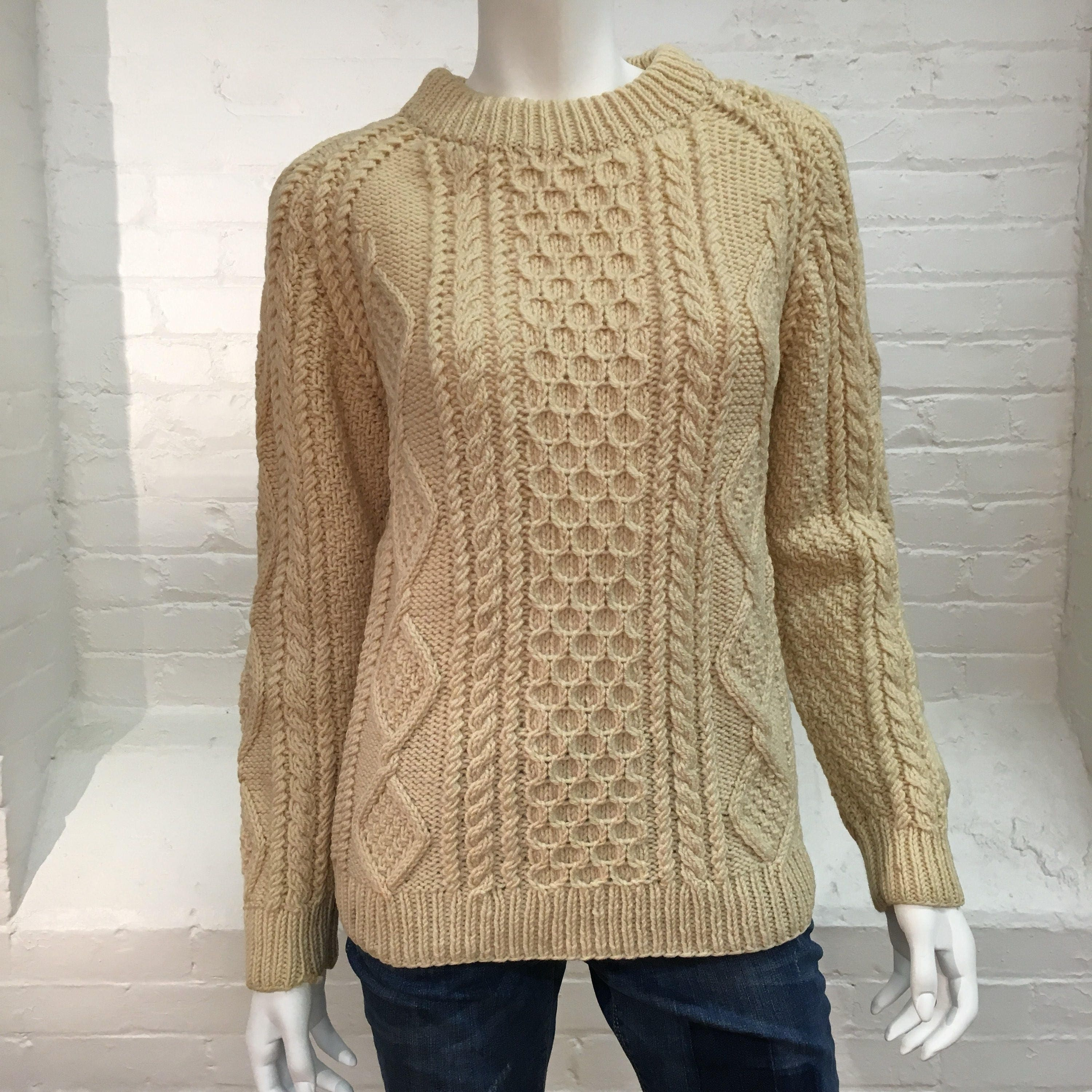Vintage Fisherman Sweater Aran Wool Chunky Knit Pullover Basic Pull Over Small