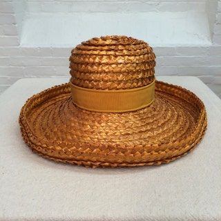 vintage summer hat  cellophane straw woven sun hat  made in France  Neiman Marcus  1960s 1970s