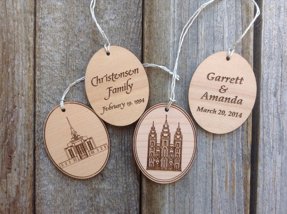image 0 - Personalized 2x2.5 Inch Wood Temple Ornaments LDS Temple Etsy