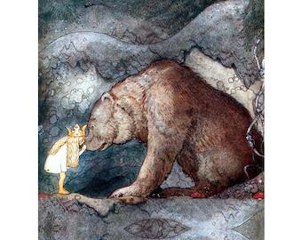 Fairy Tale Fabric Block - Princess Kisses a Bear - Repro John Bauer