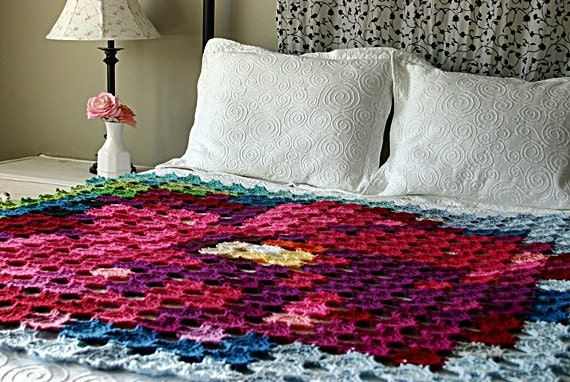 Pointillism Posie Crochet Pattern Granny Square Flower Afghan