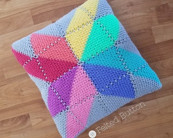 Crochet Pattern, Prism Pillow, Square Cushion Cover