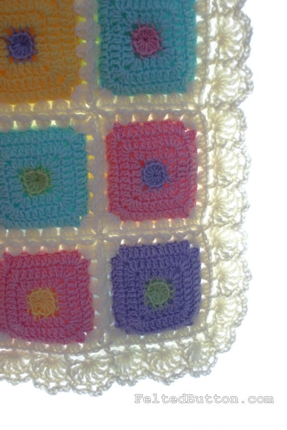 Puffy Patch Quilt Crochet Pattern Baby Blanket Etsy