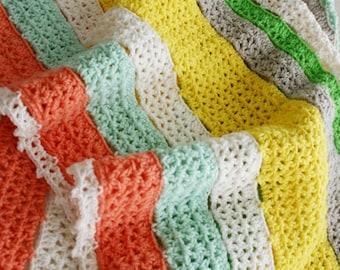 Crochet Pattern, Citrus Stripe Blanket, Afghan, Baby