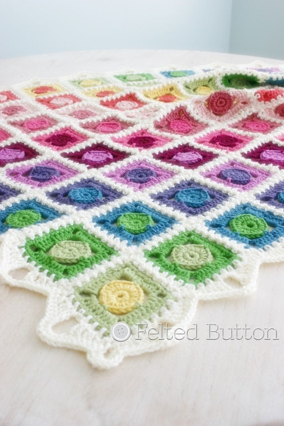 Crochet Pattern Circle Takes The Square Blanket Baby Etsy