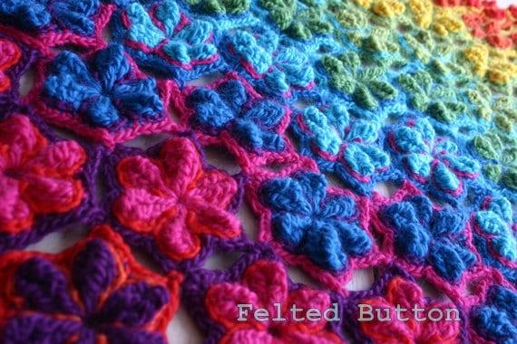 Crochet Pattern Star Fruit Blanket Rug Coverlet Afghan Runner Etsy