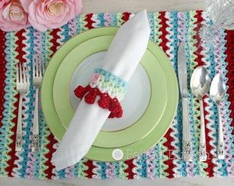 Crochet Pattern, V-stitch Placemat, Napkin Ring, Holiday, Table Decor