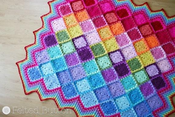 Crochet Pattern, Happy Harlequin Blanket, Afghan, Baby, Rainbow