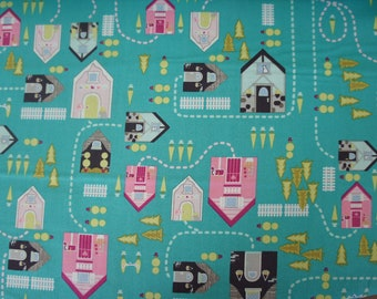 Village houses in Turquoise from the Storyville lane Collection by the yard