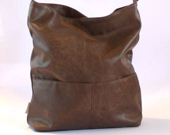 Women Vegan Bags, Brown Crossbody Bag, Boho Vegan Bag, Casual Shoulder Bag, Brown Faux Leather Bags, Oversize Hobo Bag, Shoulder Hobo Bag