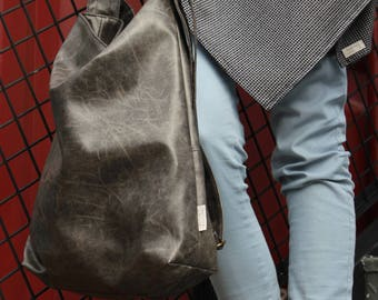 Vegan Crossbody Bag, Gray Crossbody Purse, Long Strap Bag, Bohemian Bag, Vegan Leather Tote Bag, Messenger Bag, Gray Bag,  Womens Purses