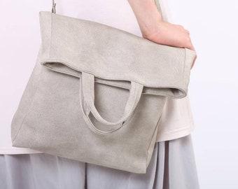 Crossbody tas, Fold-Over tas, bovenste handvat handtas, Vegan leerzak, Slouchy tas, witte zak, tas van de zomer, Gift voor mamma