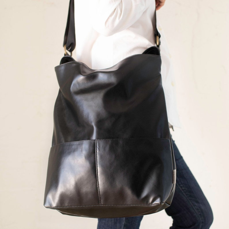 621596e596 Women Crossbody Bag Black Vegan Bag Large Shoulder Bag