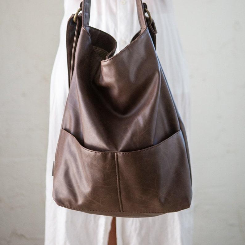 7ededfb347 Brown Hobo Bag Vegan Womens Bag Brown Faux Leather Purse
